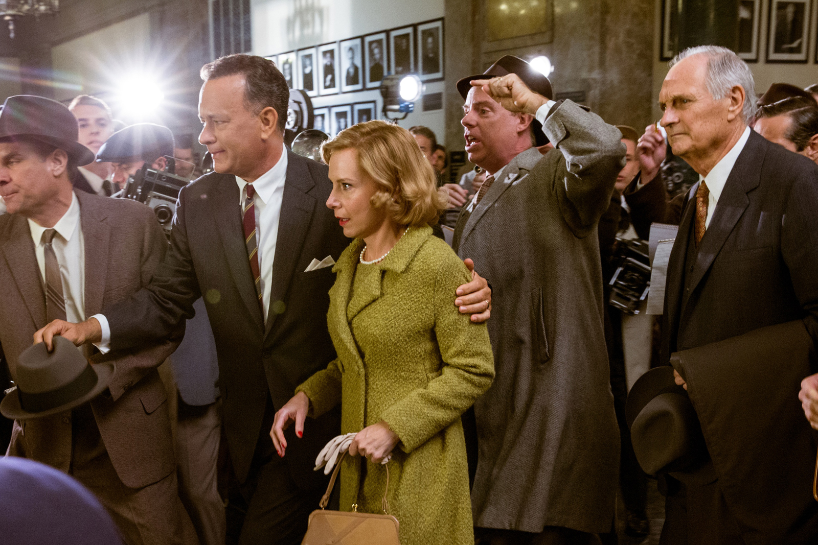 In DreamWorks Pictures/Fox 2000 Pictures' dramatic thriller BRIDGE OF SPIES, directed by Steven Spielberg, Brooklyn lawyer James Donovan (Tom Hanks) and his wife Mary (Amy Ryan) become the target of anti-communist fears when Donovan agrees to defend a Soviet agent arrested in the U.S.